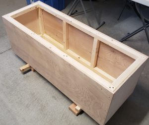 The chest with all side and the bottom plywood attached.